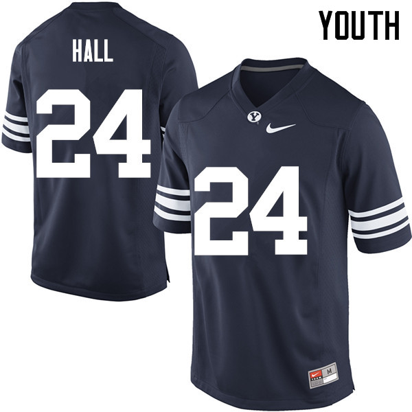 Youth #24 K.J. Hall BYU Cougars College Football Jerseys Sale-Navy